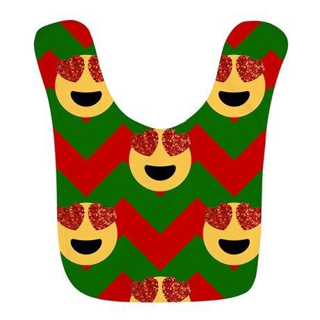 christmas heart eye emoji Polyester Baby Bib