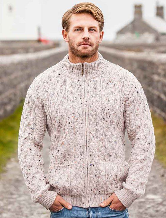 Diamond and Cable knit Zip Cardigan with Pockets is a great men's ...