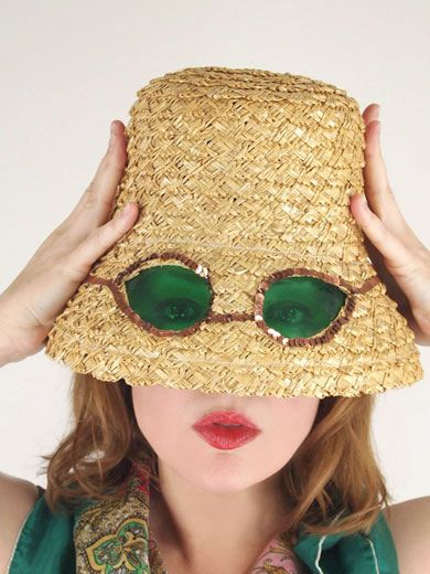 Mid 60s straw bucket hat with built-in sunglasses | Hats in