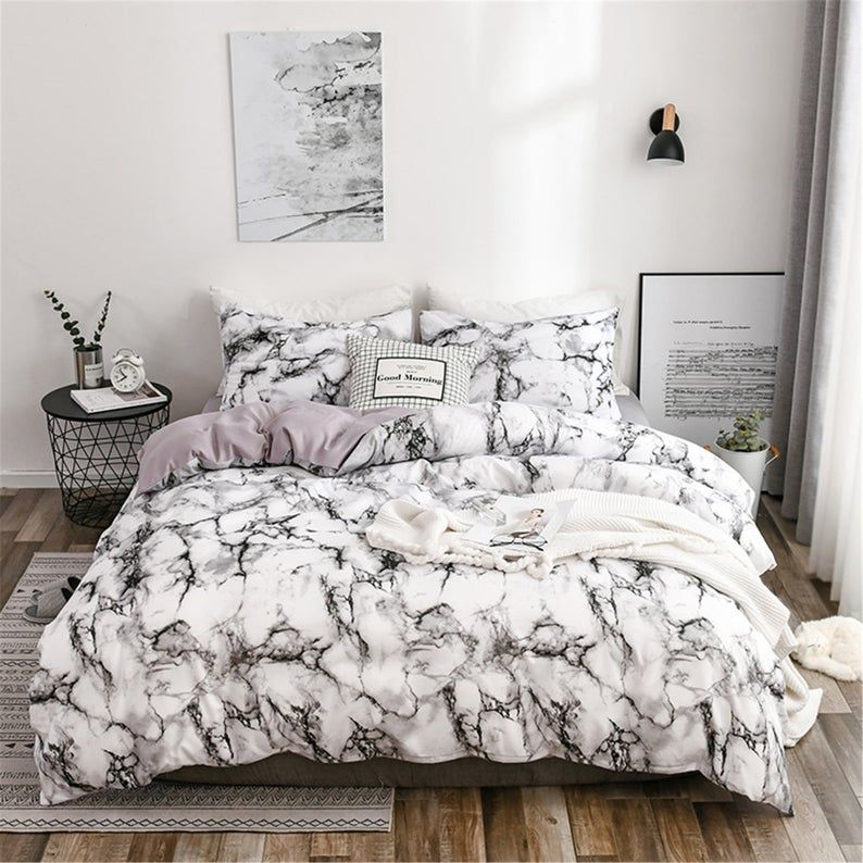 White Gray Marbling Ink Painting Artistic Duvet Cover Set Warm Etsy Marble Bed Set Modern Bed Set Black Duvet Cover