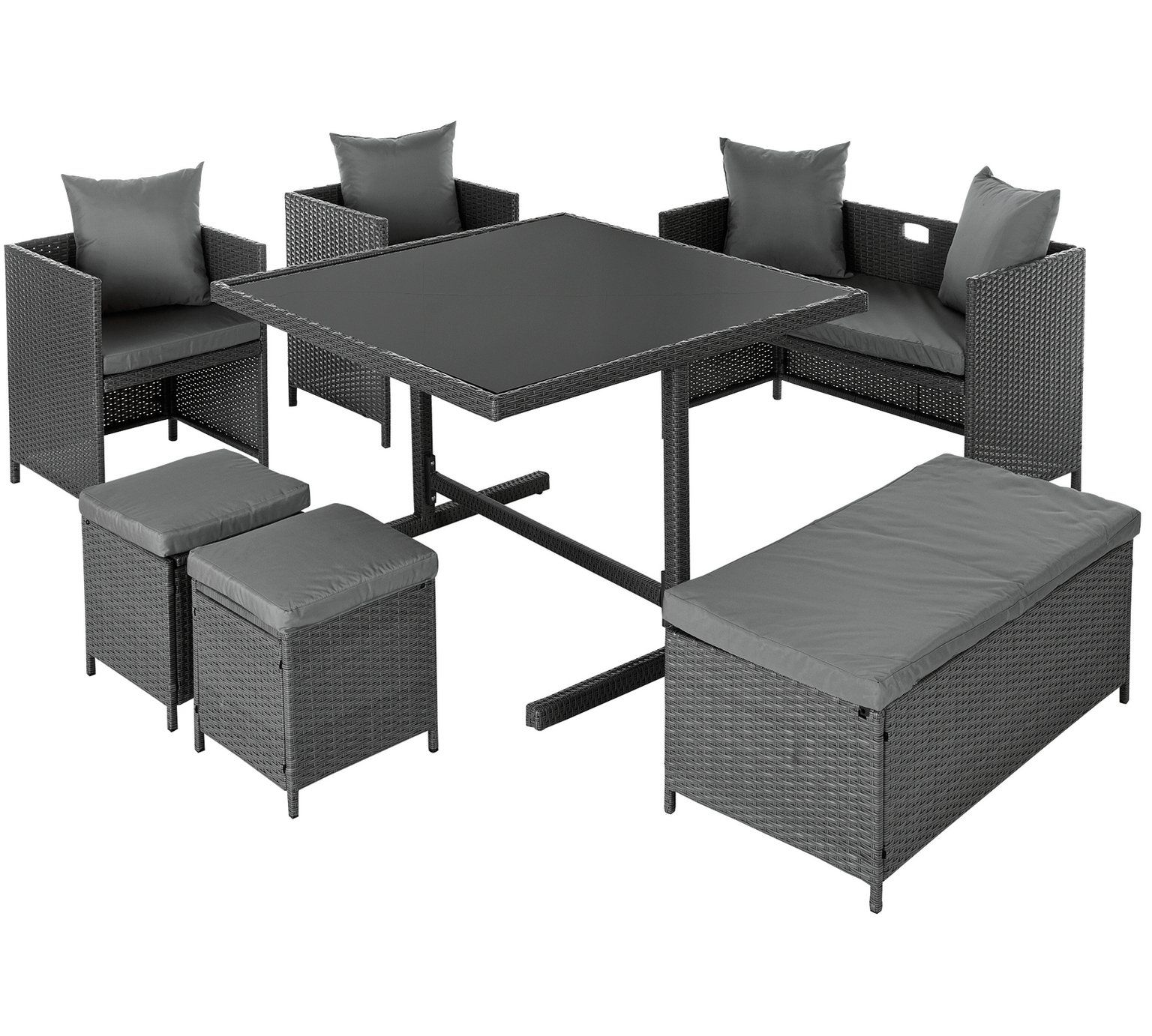 Cool Home 8 Seater Rattan Effect Patio Set Grey Garden Table Short Links Chair Design For Home Short Linksinfo