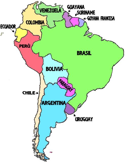 Mapa De Sudamerica Paises.America Del Sur Paises Y Capitales Thinglink Argentina