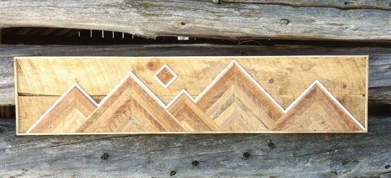 Reclaimed Wood Mountain range wall hanging by StoneHillMillworkCo ...