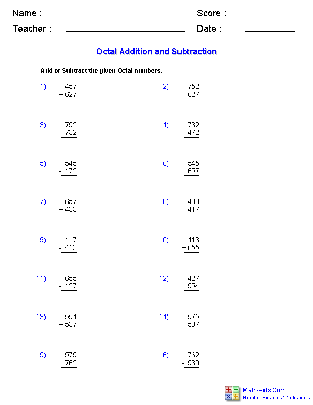 Adding And Subtracting Octal Worksheets  MathAidsCom