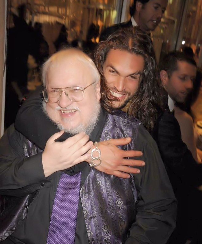 Khal Drogo, Aka Jason Momoa, With GRRM.