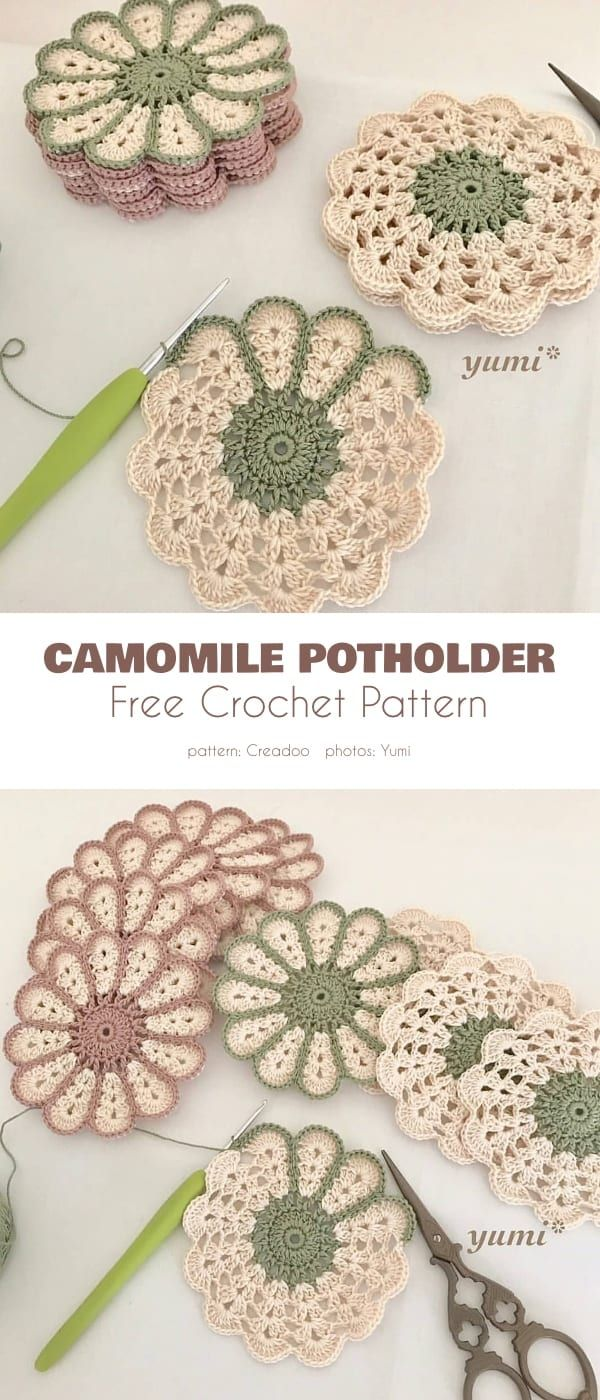 Camomile Potholder Free Crochet Patterns
