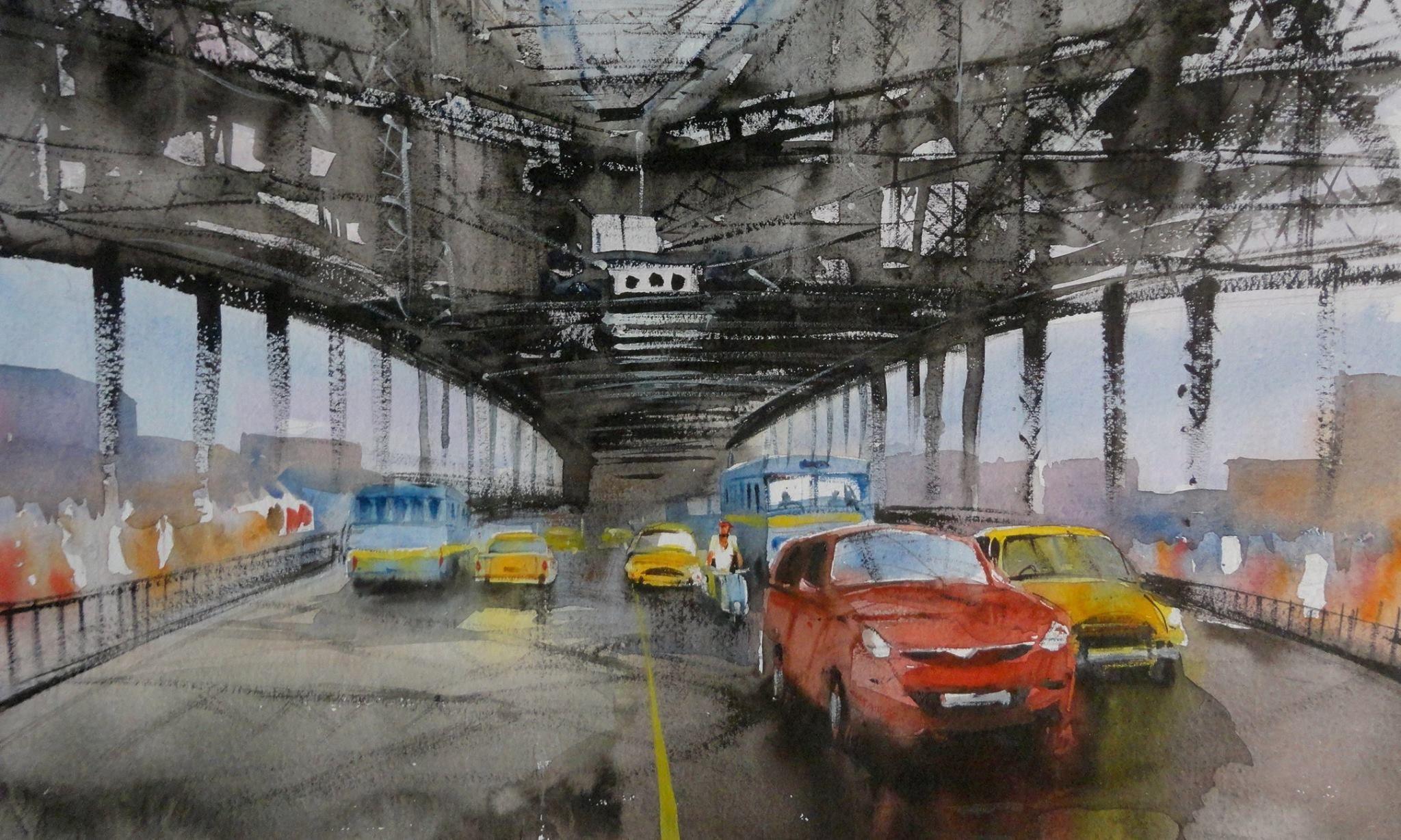 Howrah bridge kolkata watercolor painting