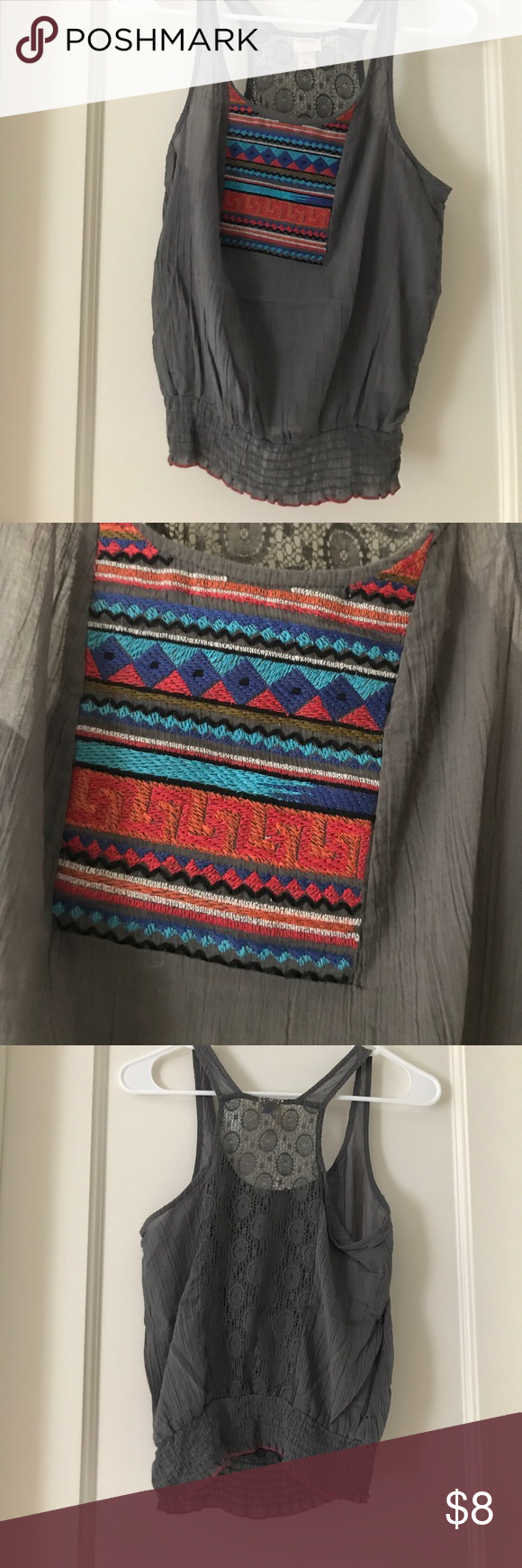 16af36faf8b5f Aztec embroidery on front. Tighter on the bottom. Cute aztec embroidery on  the front. Lace detailing on the back  Mossimo Supply Co Tops Blouses