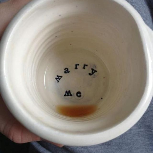 Marry me. Proposal in the coffee mug