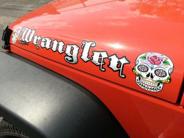 Jeep Wrangler Sugar Skulls Hood Decals 2pc Set Jeep Hood
