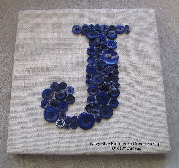 Letter J Wall Art Nursery Wall Art Button Letter Jletterperfectdesigns On Etsy