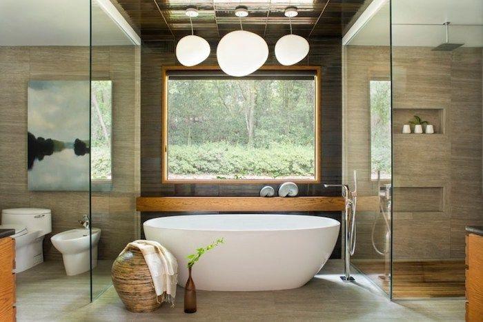 Feng Shui Badezimmer feng shui badezimmer in naturfarben fenster ovale freistehende