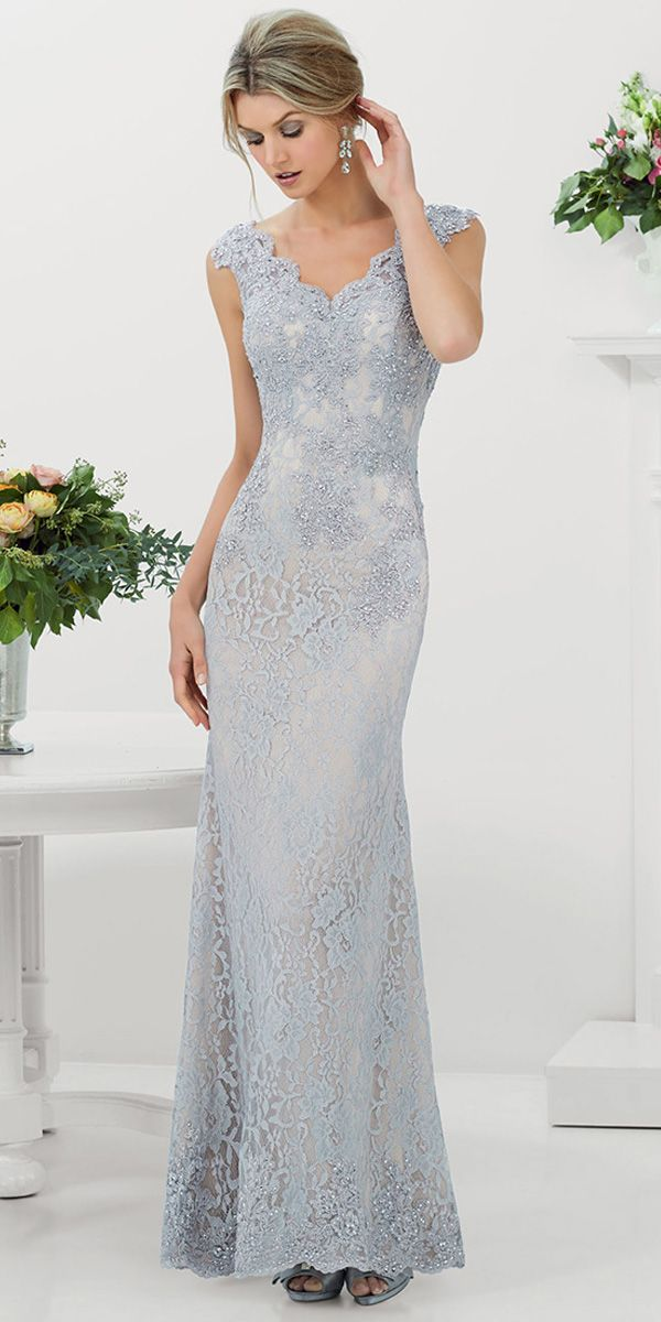 [131.99] Charming Lace V-neck Neckline Floor-length Sheath Mother Of The Bride Dress