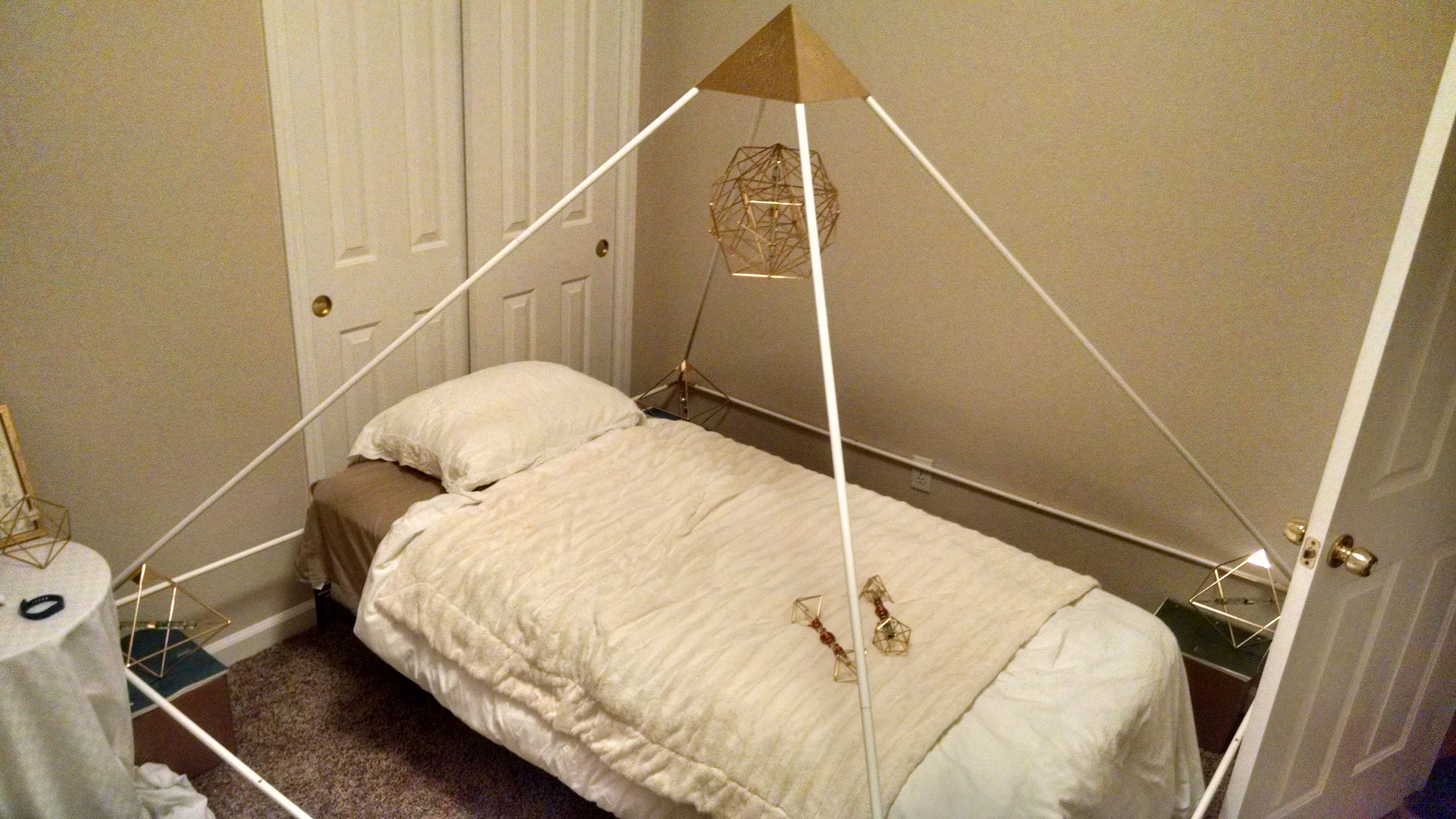 Pyramid System Set Up Over The Bed, Extremely Grounding To Sleep Under