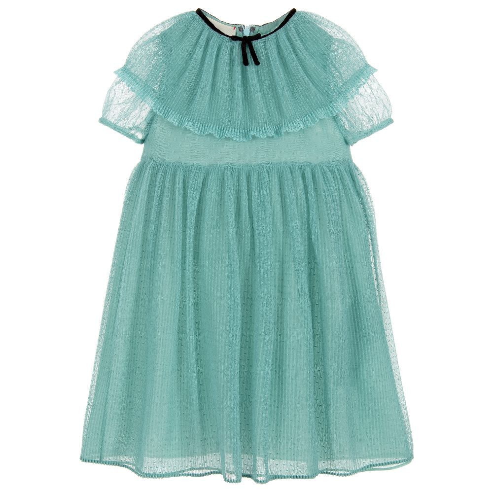 3a39ee35a6cc An elegant duck egg blue dress for younger girls by luxury Italian designer  Gucci. This