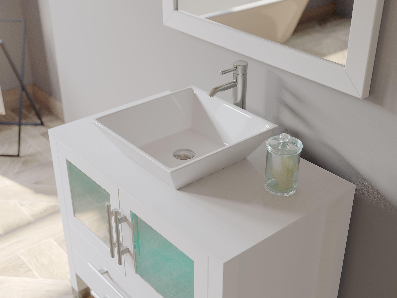 36 Inch White Wood And Porcelain Vessel Sink Vanity Set 8111w