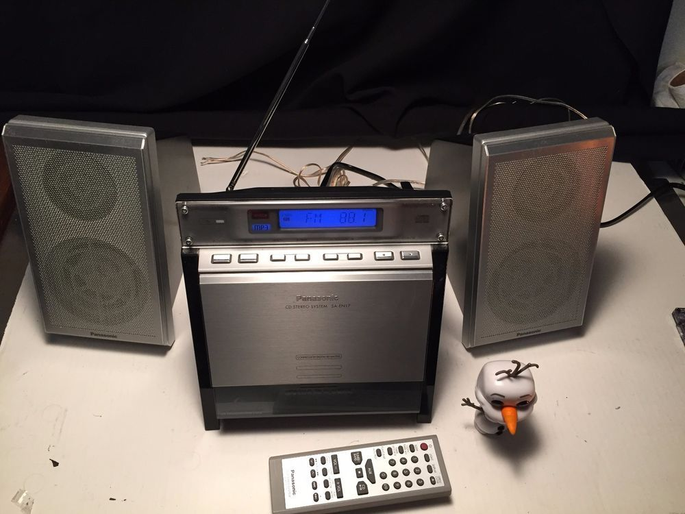 Panasonic SA EN17 Bookshelf Stereo System CD MP3 RADIO R RW PLAYBACK W Remote