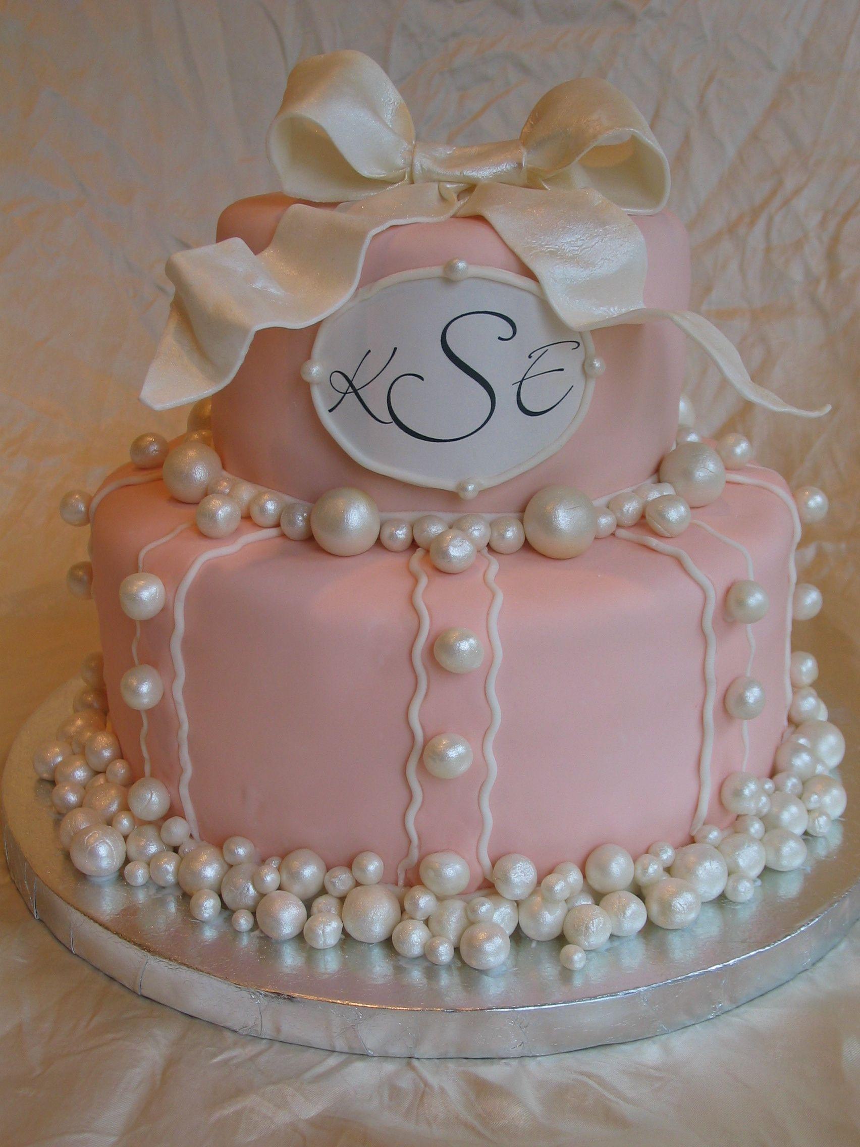 Marvelous Bridal Shower Pearl Cake June Birthstone Charlottesville Va Birthday Cards Printable Trancafe Filternl