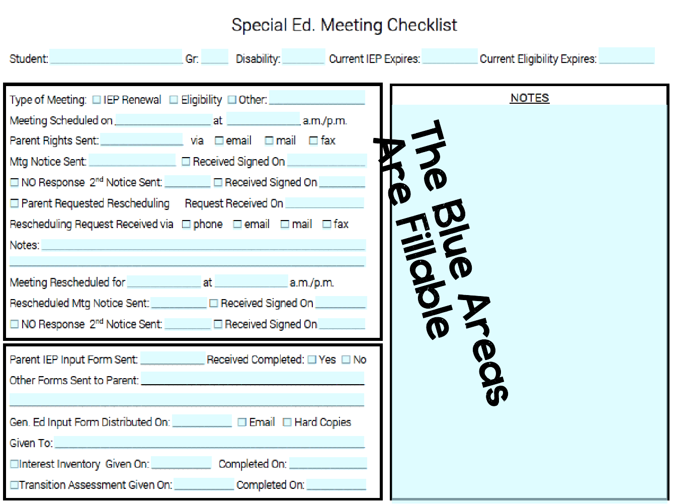 Iep Parent Input Form Templates Special Education Developing