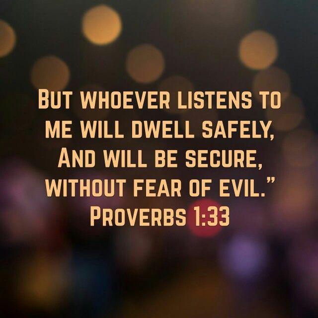 Proverbs 1:33 ♥ Wisdom.   Proverbs, Inspirational quotes, Bible scriptures