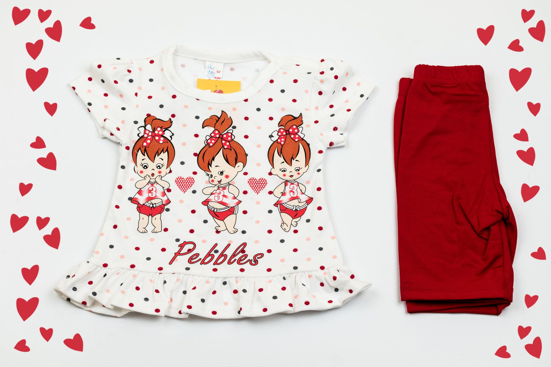 Set of white short dress and red shorts with three girls print. Will keep your baby girl the happiest little princess ever! The material is 100% cotton and the color after washing stays the same. But most important is that these dress and shorts are easy to wear and easy to pay.
