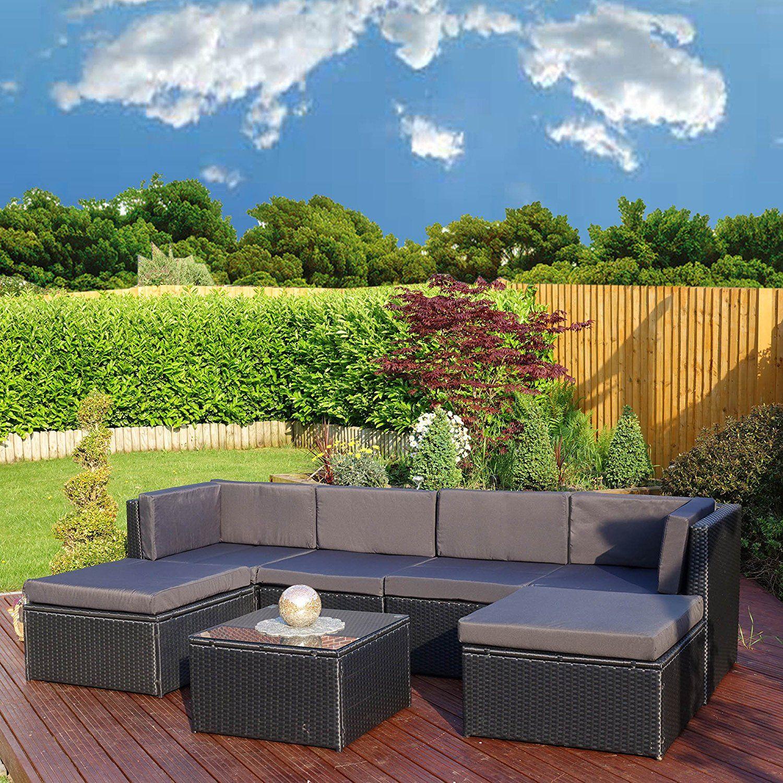 black garden furniture covers. Rattan Modular Corner Sofa Set Garden Conservatory Furniture 5 To 9 Pcs INCLUDES GARDEN FURNITURE COVER (Acapulco, Black With Dark Cushions): Amazon.co.uk: Covers