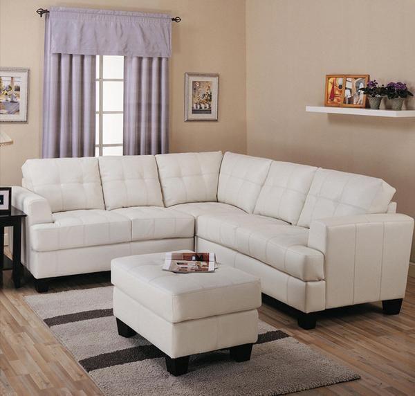 Toronto Cream Tufted Bonded Leather Corner Sectional Sofa Livingroom