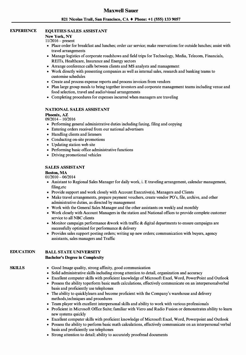 Sales assistant Job Description Resume Fresh Sales