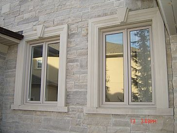 Stone sills around exterior windo home exteriors for Window design cement