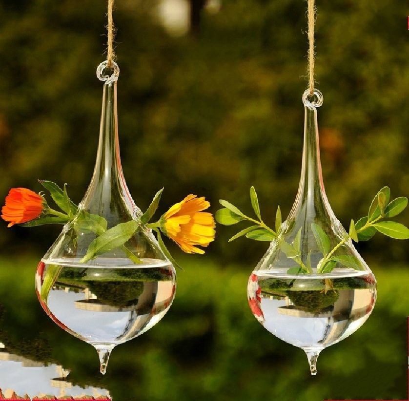 Drop hang crystal glass clear flower vase hydroponic container Home Decor hp24