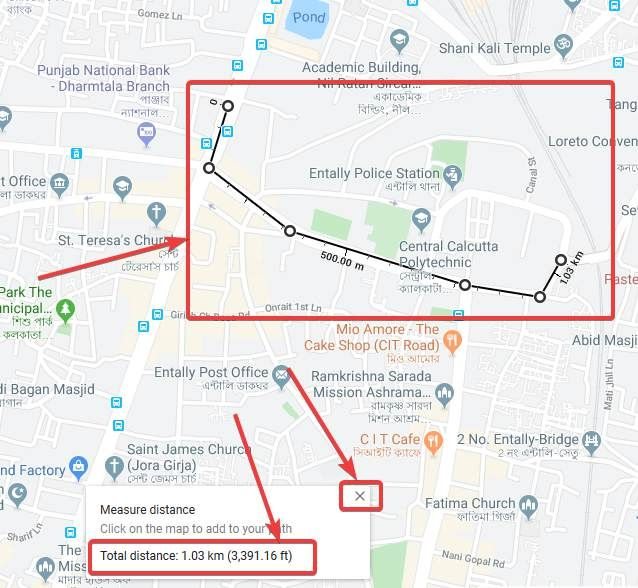 How to measure the distance between two points on Google