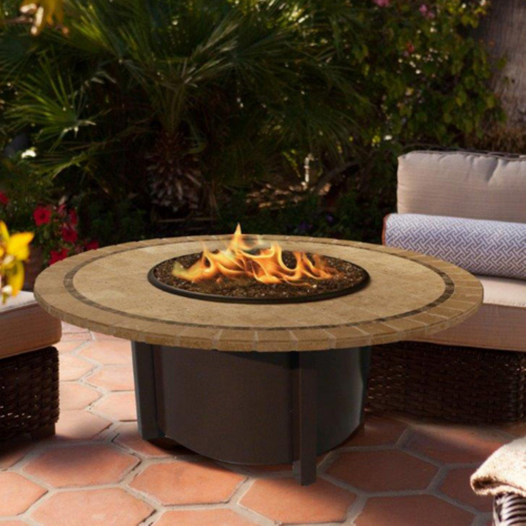 american fire products carmel chat height round mosaic tile top gas