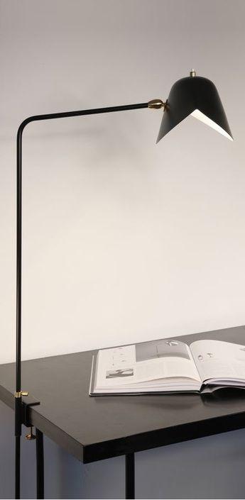 Lampe de bureau agrafee simple noir h70cm serge mouille normal