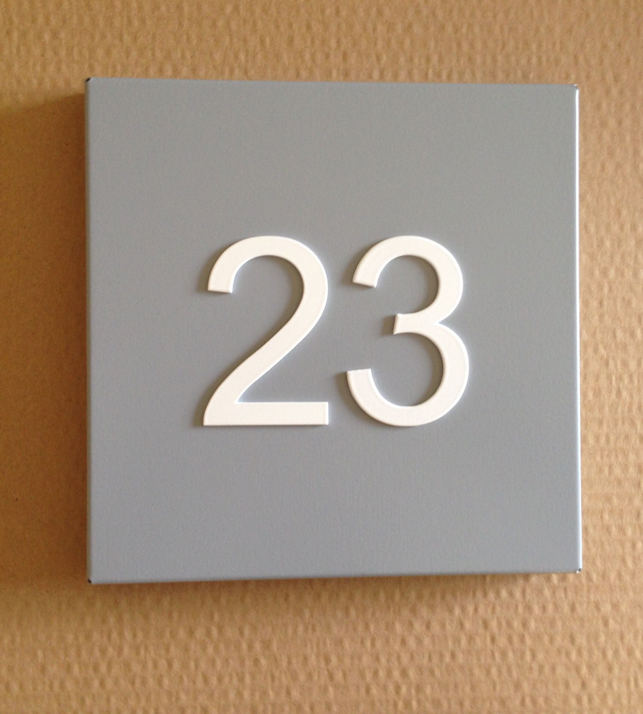 Good Funky Steel House Number Plate Grey
