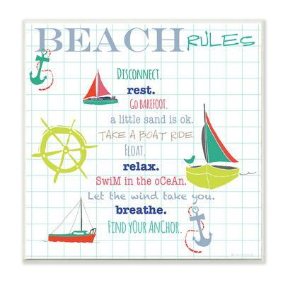 Stupell Industries 'Beach Rules Typography and Icons V2' Graphic Art Wall Plaque
