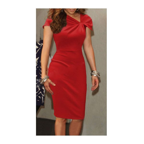 Cap Sleeve Red Knee Length Bodycon Dress ($23) Liked On