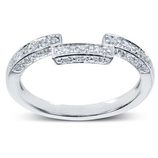 Annello 14k White Gold 1 6ct Tdw Diamond Curved Wedding Band H I I1