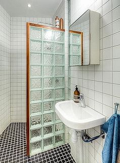 I Like The Wood Frame It Should Have A Frame That Matches The Cabinets Brick Bathroom Glass Blocks Wall Glass Block Shower