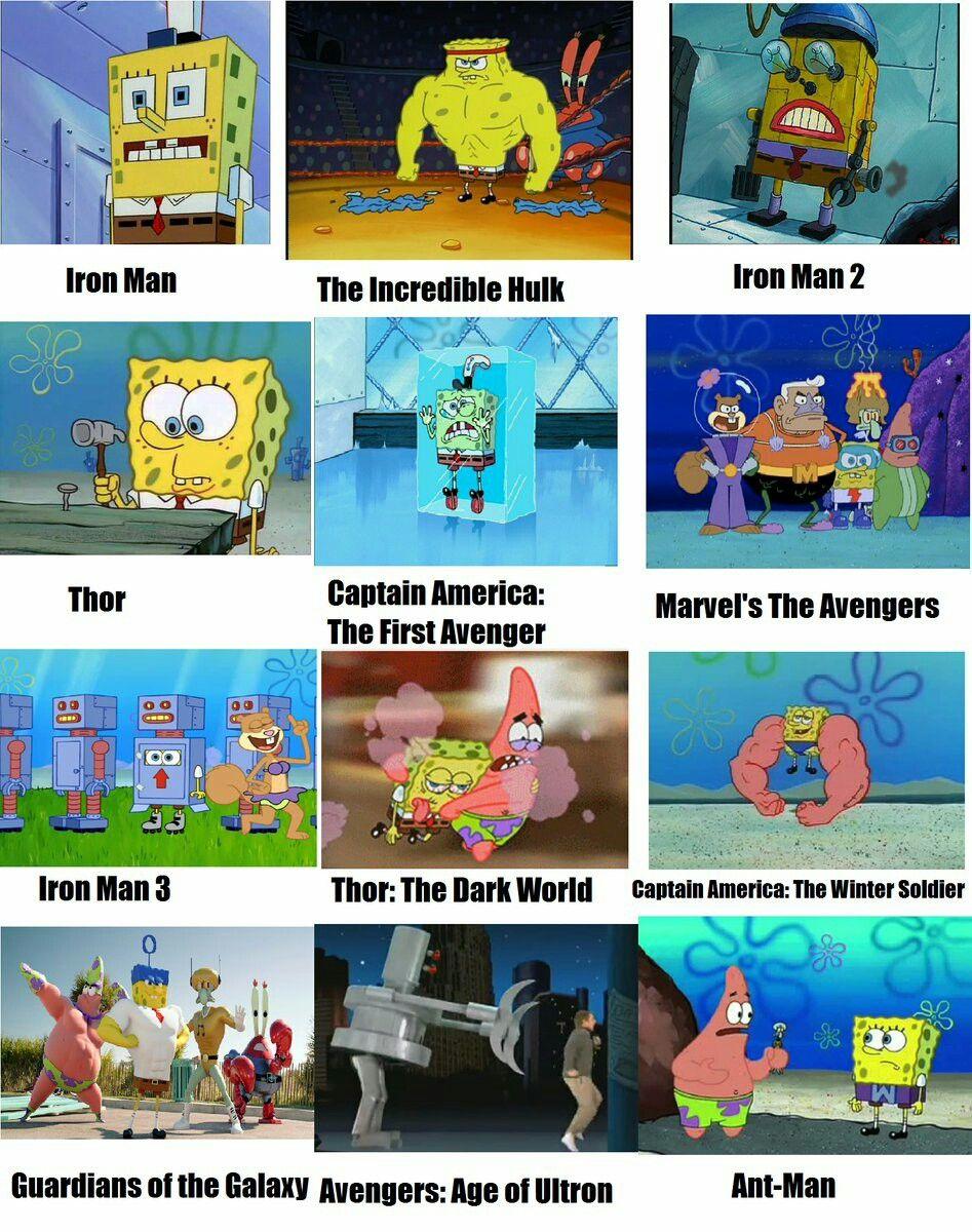 Todo marvel en bob esponjaaaa chiste meme avengers movies marvel avengers marvel dc