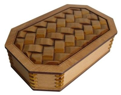 Wooden Trinket or Jewelry Box Woven Flax Pattern Shop New