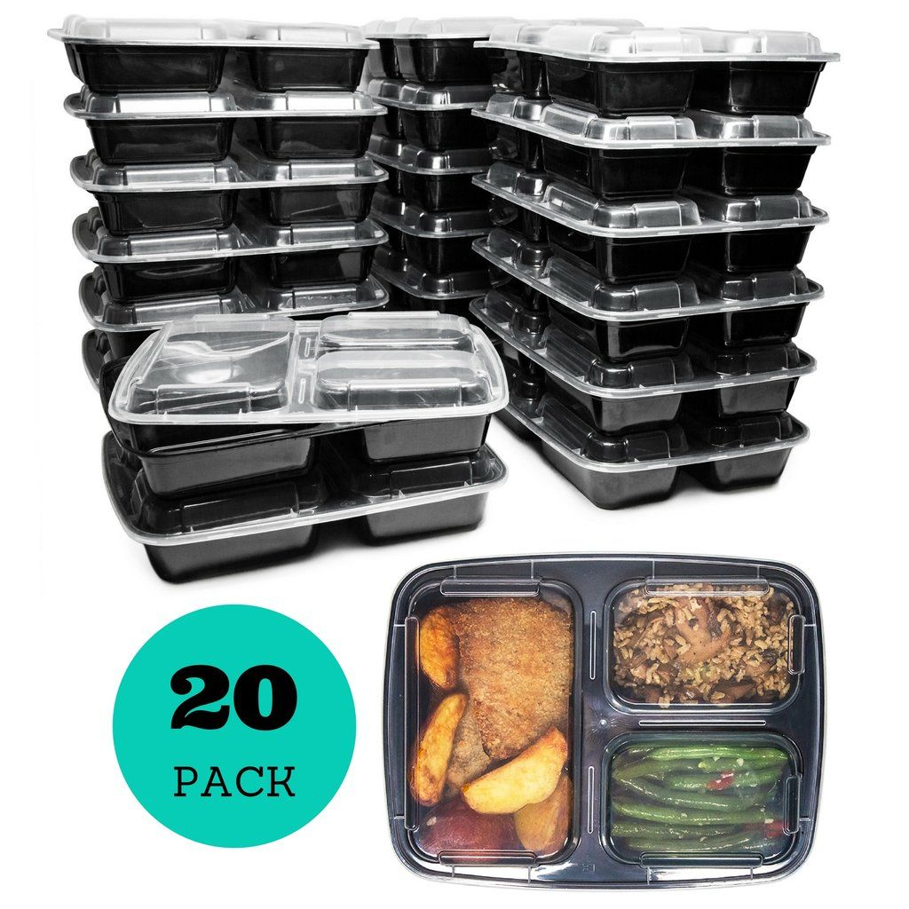 3 Compartment Reusable Food Prep Containers with Lids