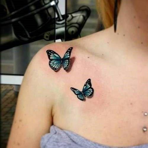 ¿Tienes ganas de un tatuaje realista? Esta lista te dará algunas ideas | Blue butterfly tattoo, Tattoos, Butterfly tattoo on shoulder