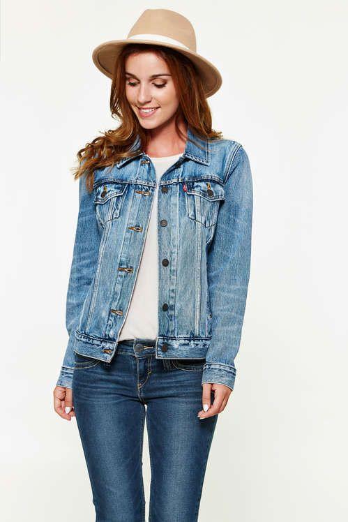 veste en jean levi-s boyfriend trucker bleu delave femme veste et manteau jeans  femme 669bc69bdd85