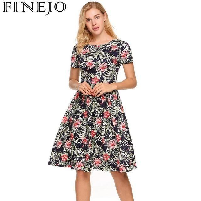 Dress Women Summer Bohemia Sleeve Lace Pleated Short Sundress Back O-Neck Casual Up A-Line Vestidos #shortsundress