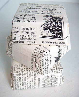 old dictionary pages as wrapping paper