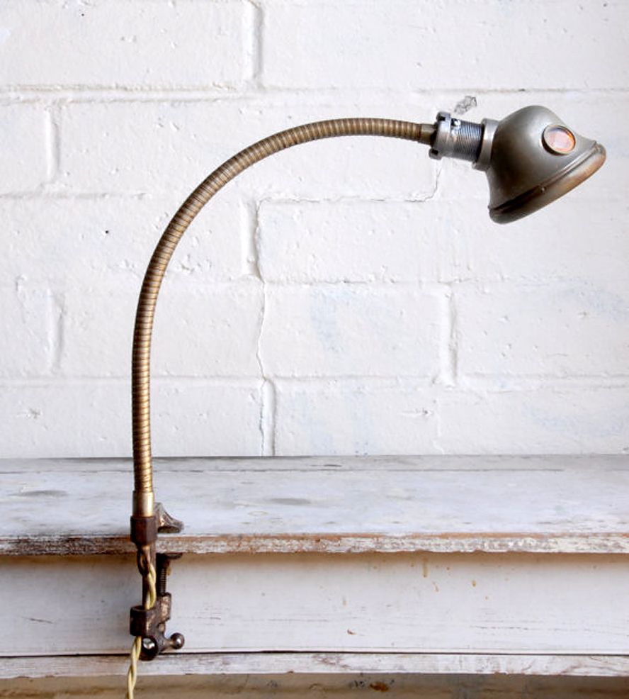 Vintage 40s cast iron metal deco industrial gooseneck desk lamp light - Vintage Headlight Clamp Desk Lamp