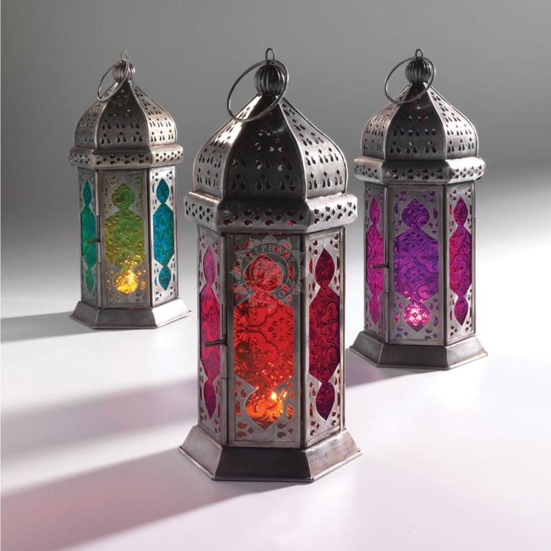 Moroccan Style Large Tonal Glass Lantern, 13x13x30cm   Indian Furniture |  Elephant Interiors