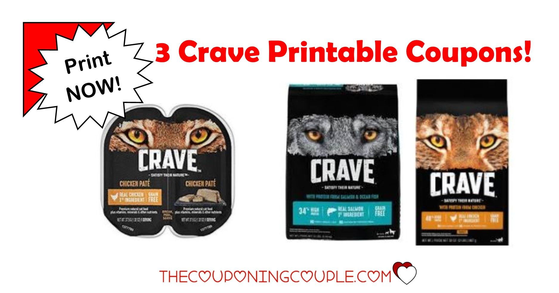 3 Crave Pet Food Printable Coupons Dog and Cat Food