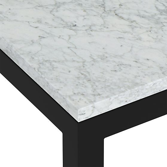Marble Top Dark Steel Base Parsons Dining Tables Crate And