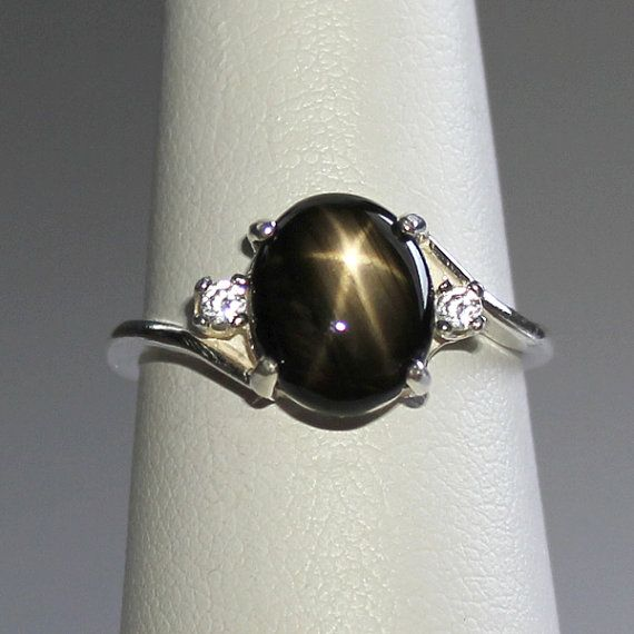 Natural Black Star Sapphire Sterling Silver Ring Free Re Sizing 3 0 Ct Black Star Sapphire Ring On Et Star Sapphire Ring Star Sapphire Sterling Silver Rings